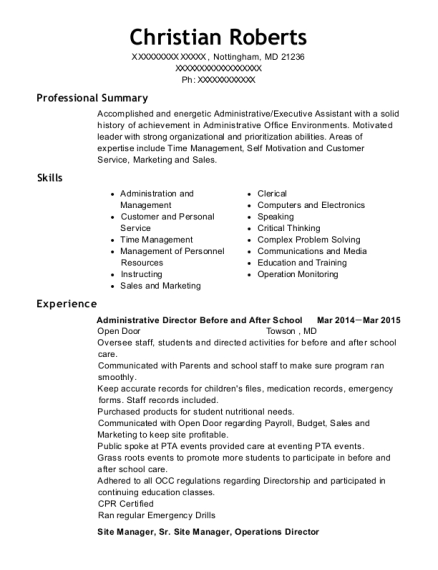 Administrative Director Before and After School resume template Maryland
