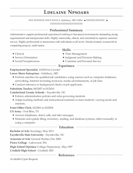 Employment Specialist resume example Maryland