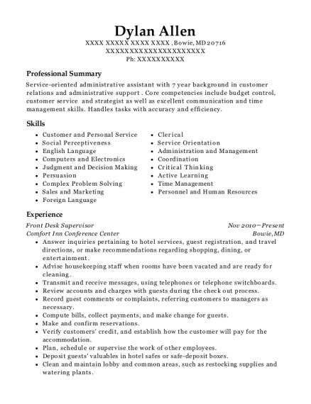 Front Desk Supervisor resume format Maryland