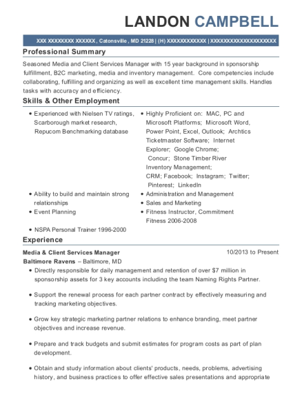Media & Client Services Manager resume format Maryland