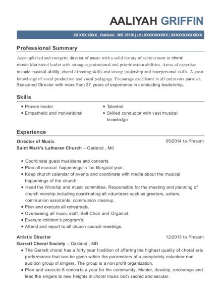 Director of Music resume template Maryland