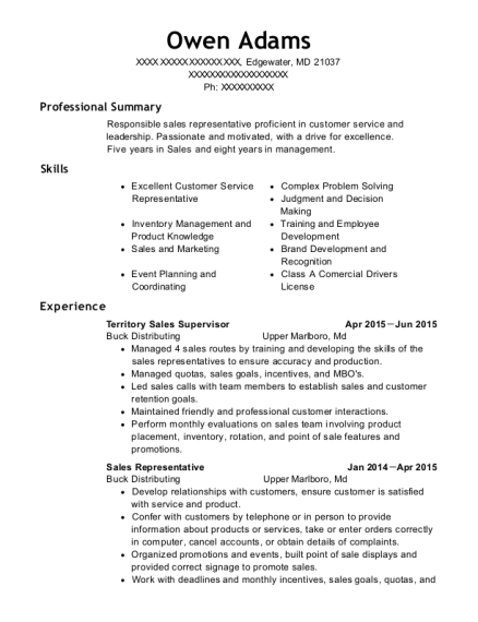 Territory Sales Supervisor resume template Maryland