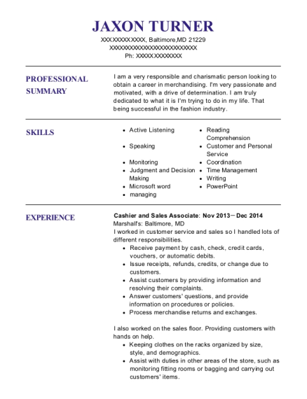 Cashier and Sales Associate resume template Maryland