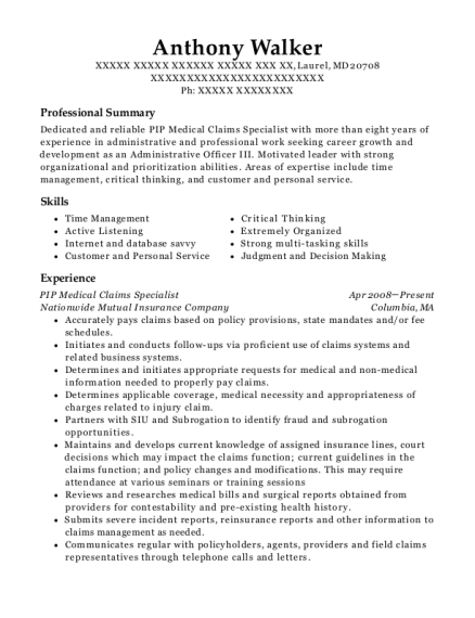PIP Medical Claims Specialist resume sample Maryland