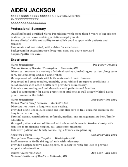 Nurse Practitioner resume template Maryland