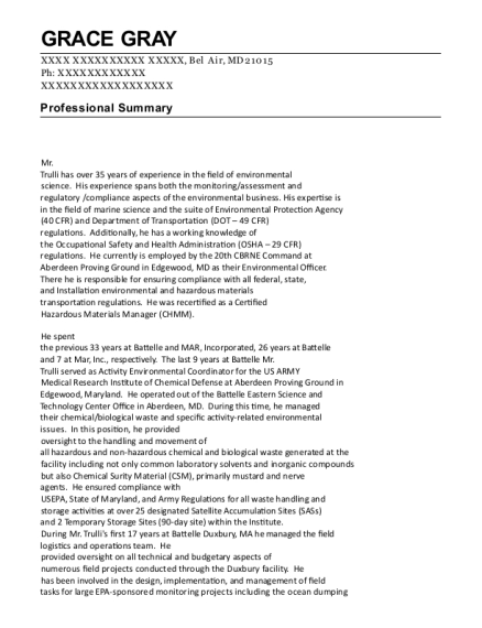 Environmental Officer resume template Maryland