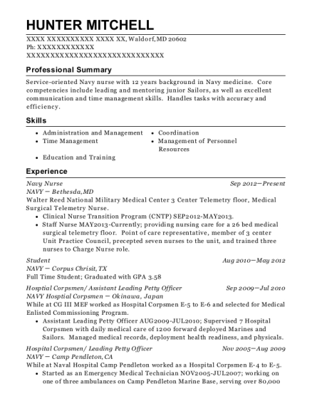 Navy Nurse resume sample Maryland