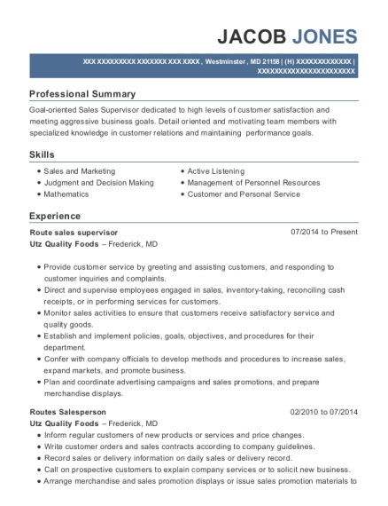 Route sales supervisor resume example Maryland