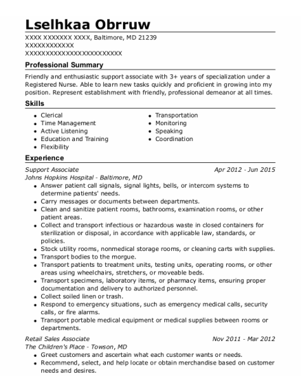 Support Associate resume template Maryland