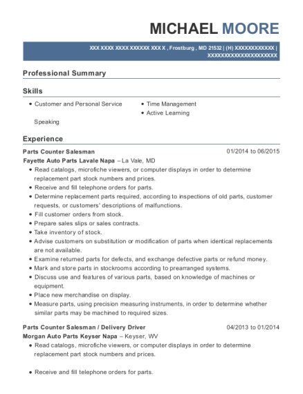 Parts Counter Salesman resume sample Maryland