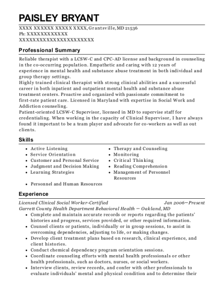 Licensed Clinical Social Worker Certified resume format Maryland