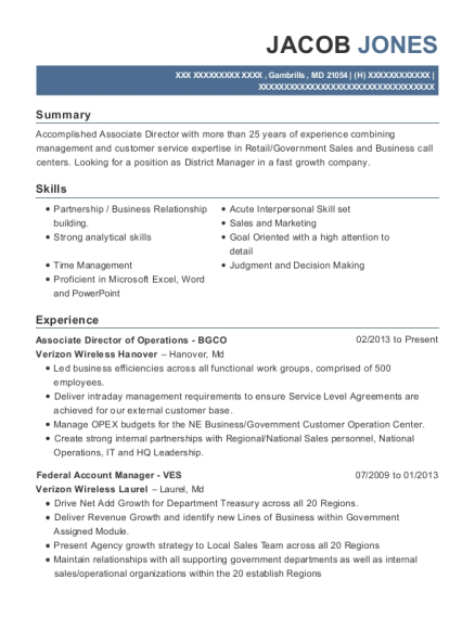 Associate Director of Operations BGCO resume example Maryland