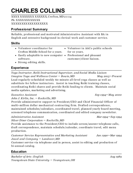 Yoga Instructor resume sample Maryland