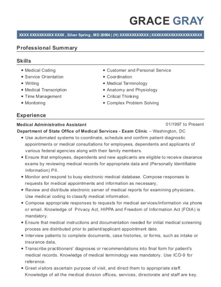 Medical Administrative Assistant resume sample Maryland