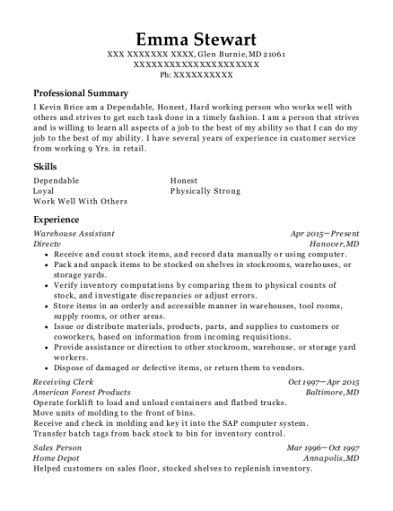 Warehouse Assistant resume example Maryland