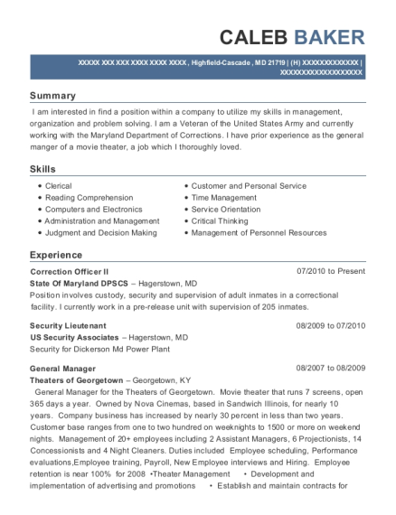 Correction Officer II resume template Maryland