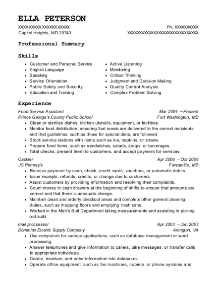 Food Service Assistant resume template Maryland