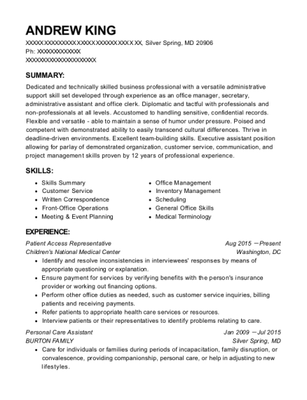 Patient Access Representative resume format Maryland
