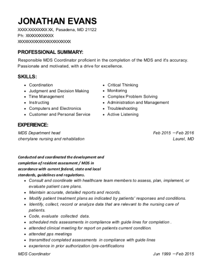 MDS Department head resume format Maryland