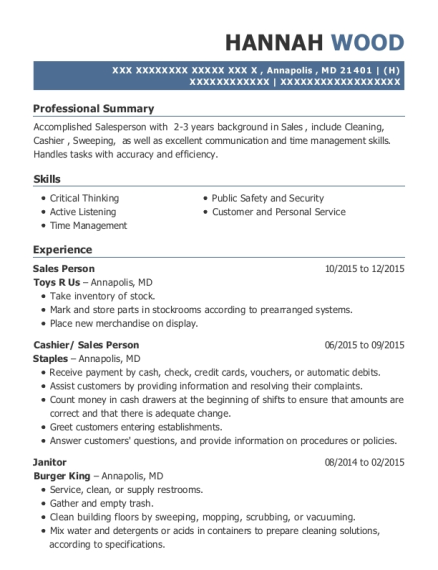 Sales Person resume template Maryland