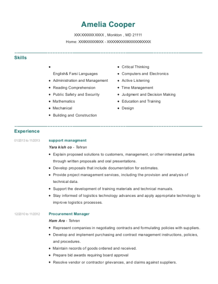 support managment resume template Maryland