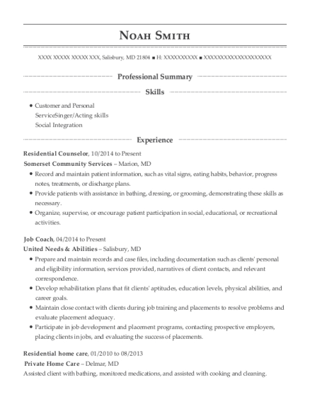 Residential Counselor resume sample Maryland