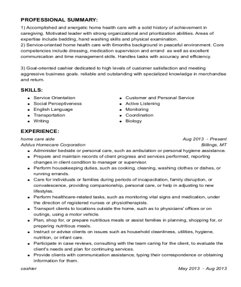 Home Care Aide resume example Maryland