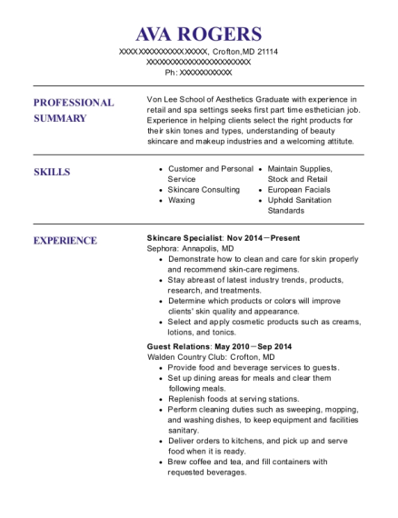Skincare Specialist resume format Maryland