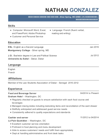 Food and Beverage Server resume example Maryland