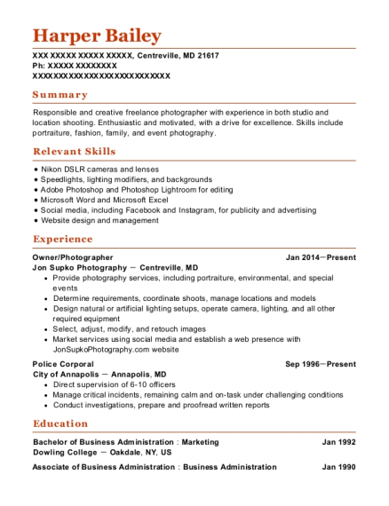 Owner resume sample Maryland