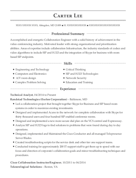 Technical Analyst resume template Maryland