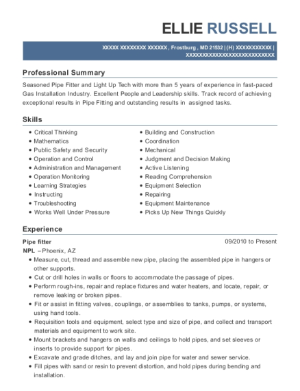 Pipe fitter resume format Maryland