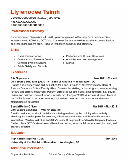 Site Supervisor resume template Maryland