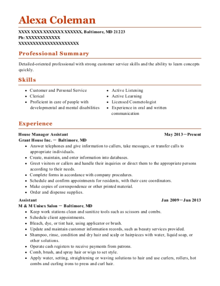 House Manager Assistant resume sample Maryland
