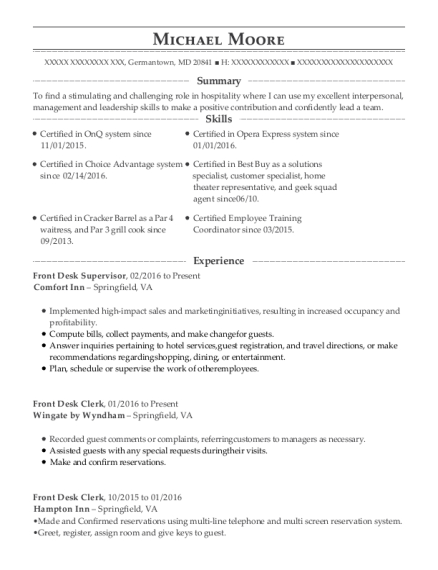 Front Desk Supervisor resume example Maryland