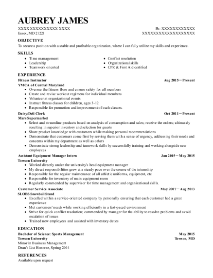 Fitness Instructor resume format Maryland