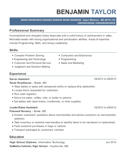 Server Assistant resume template Maryland