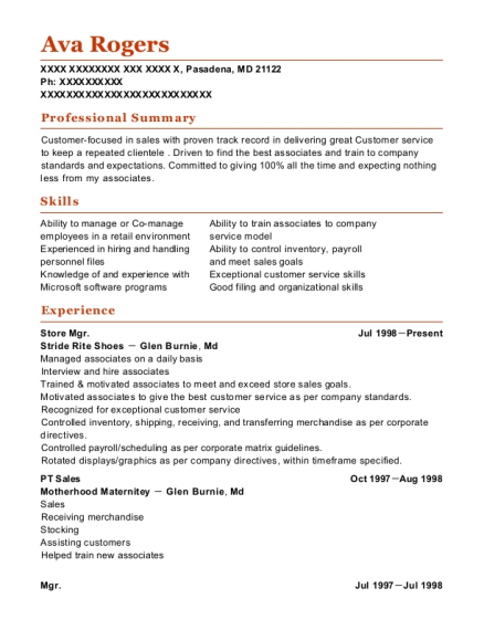Store Mgr resume example Maryland