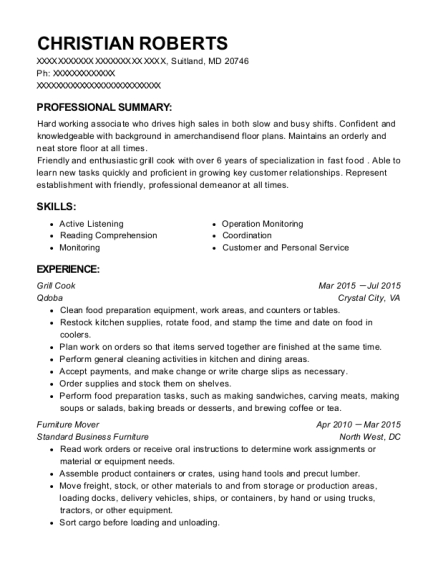 Grill Cook resume format Maryland