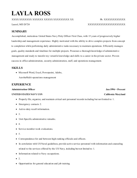 Administration Officer resume example Maryland