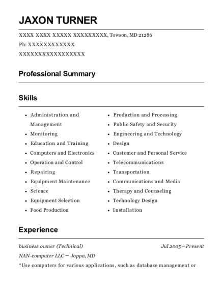business owner resume format Maryland