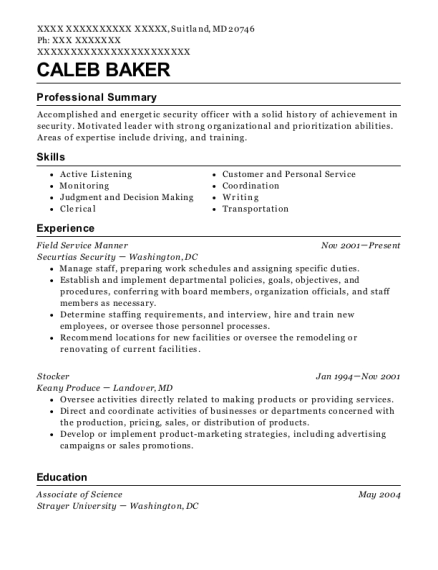 Field Service Manner resume sample Maryland