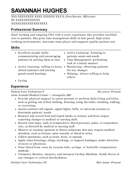 Patient Care Technician ll resume example Maryland
