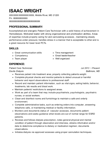 Patient Care Technician resume format Maryland