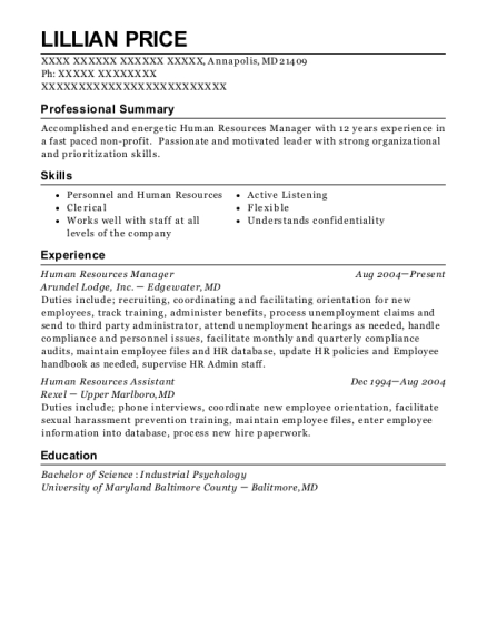 Human Resources Manager resume format Maryland