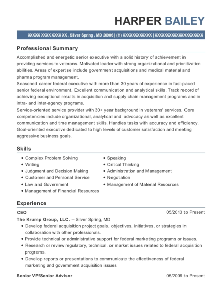 CEO resume template Maryland