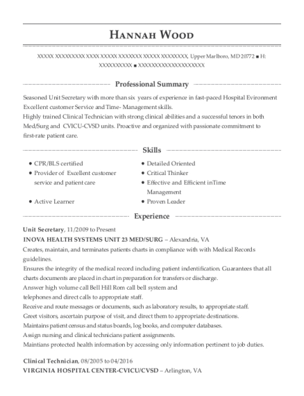 Unit Secretary resume format Maryland