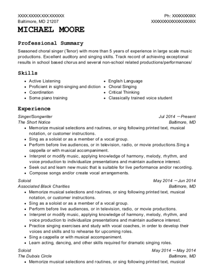 detroit concert choir soloist resume sample