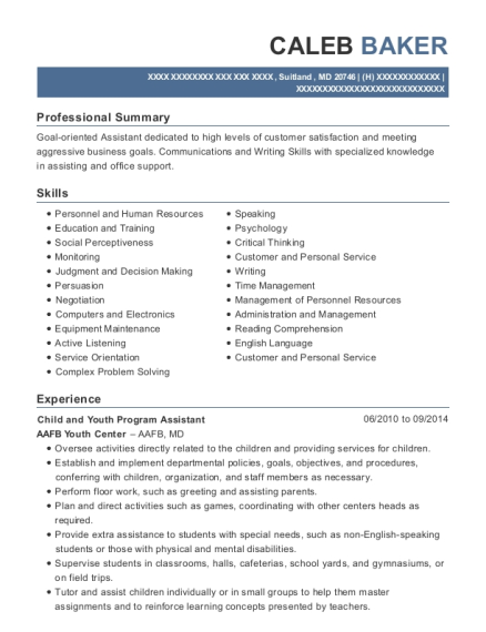 Child and Youth Program Assistant resume example Maryland