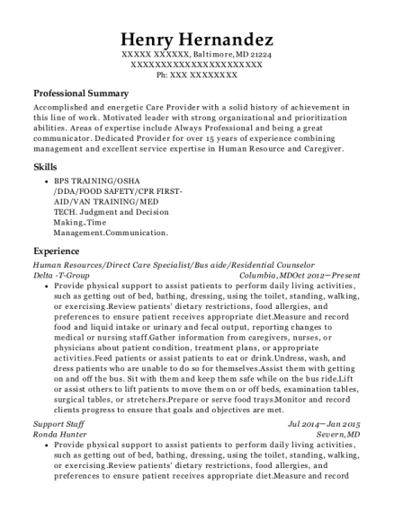 Human Resources resume format Maryland